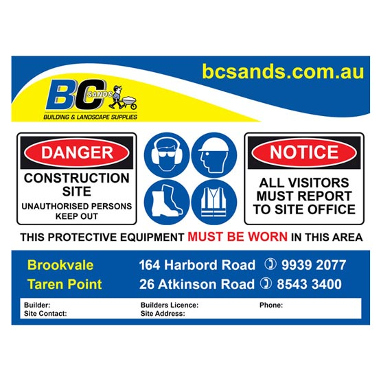 Site Sign 1200x900x5mm BC Sands